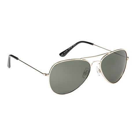 Polaroid - Gold green lens aviator sunglasses