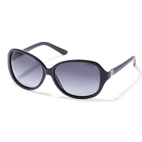 Polaroid - Black silver square plastic sunglasses