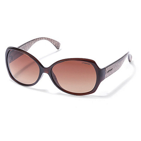 Polaroid - Brown gold patterned plastic sunglasses