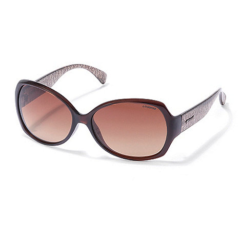 Polaroid - Brown graduating oversized sunglasses