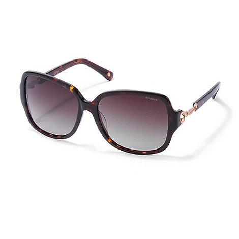 Polaroid - Light brown tortoiseshell plastic sunglasses