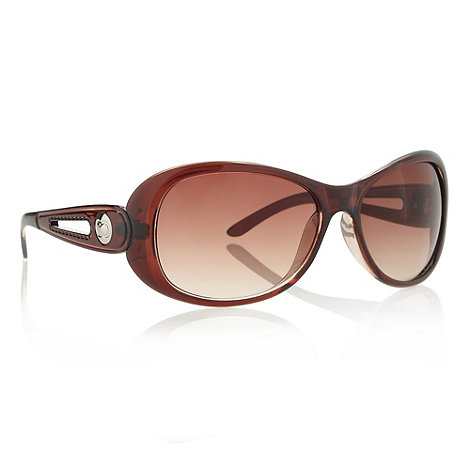 Beach Collection - Brown plastic cutout arm sunglasses