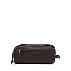J by Jasper Conran - Designer dark brown leather double zip wash bag