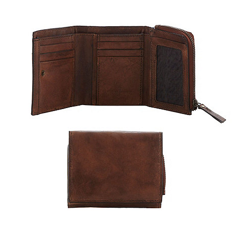 J by Jasper Conran - Brown leather popper wallet in a gift box