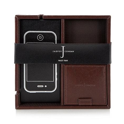 J by Jasper Conran - Designer brown leather valet tray in gift box