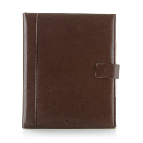 J by Jasper Conran - Designer brown leather tablet case and notepad