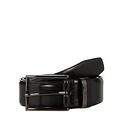 Jeff Banks - Designer black leather jeff banks branded keeper belt