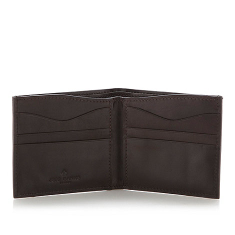 Jeff Banks - Designer dark brown leather billfold wallet