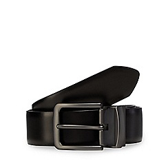 Jeff Banks - Big and tall designer black coated leather belt