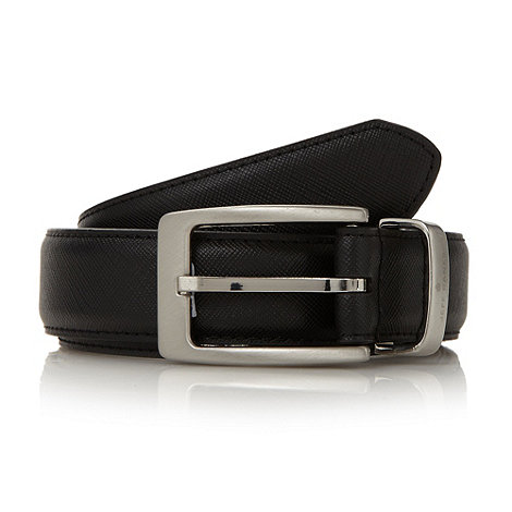 Jeff Banks - Designer black crosshatched belt