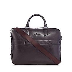 Jeff Banks - Brown faux leather laptop bag