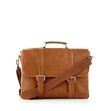 RJR.John Rocha - Designer tan leather double buckle satchel bag