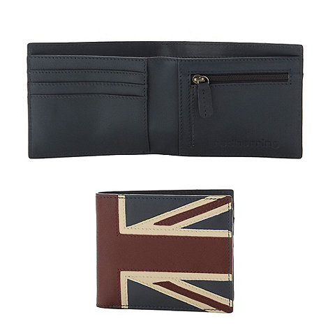 Red Herring - Navy leather 'Union Jack' wallet