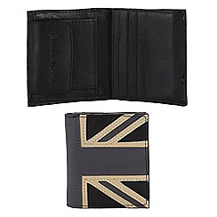 Red Herring - Black leather 'Union Jack' wallet