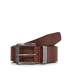 Red Herring - Big and tall brown leather roller buckle belt