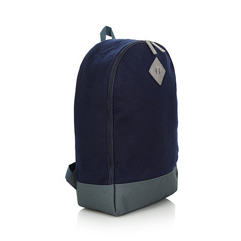 Red Herring - Navy felt wool mix zip backpack