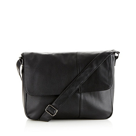 Red Herring - Black grained flapover bag
