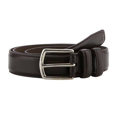 Maine New England - Dark brown stitch border leather belt