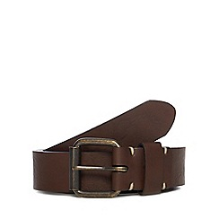 Red Herring - Brown leather skinny roller belt