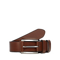The Collection - Big and tall brown leather double keeper belt
