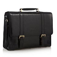 Osborne Black double buckle briefcase
