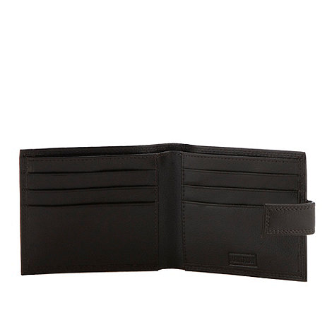 Mantaray - Brown grained leather popper wallet