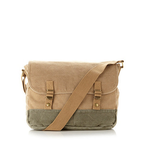 Mantaray - Beige canvas satchel bag