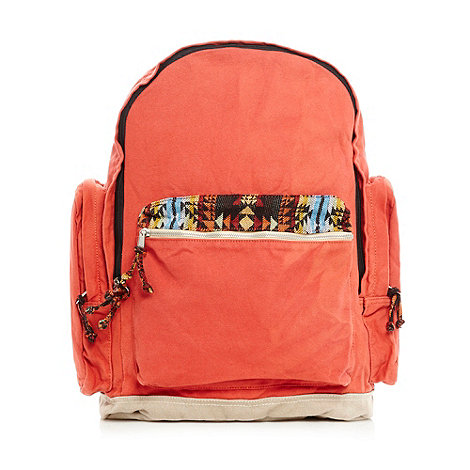 Mantaray - Orange aztec pocket canvas backpack