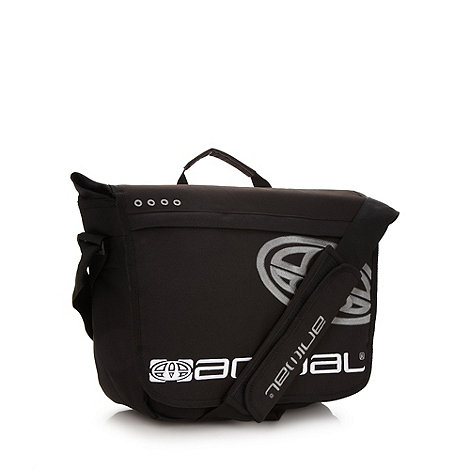 Animal - Black logo embroidered messenger bag