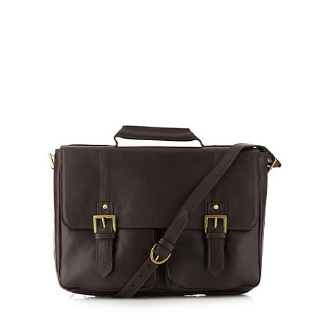 Hidesign - Brown leather flapover briefcase