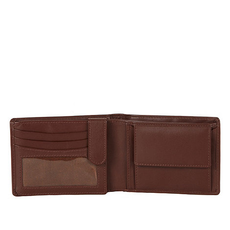 Dents - Brown debossed matte leather wallet