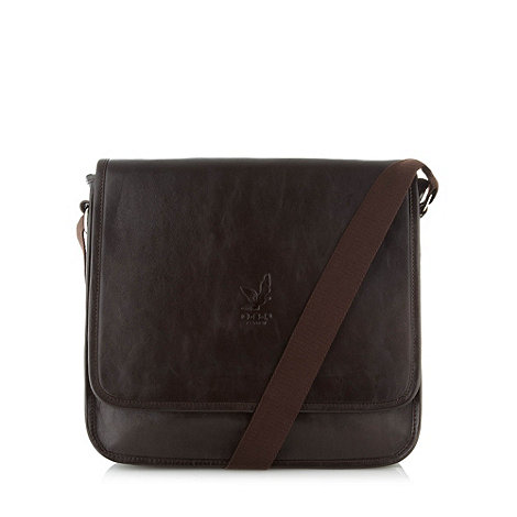 Osprey - Dark brown leather flapover cross body bag