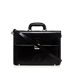 Osborne - Black leather single buckle briefcase