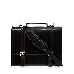 Osborne - Black leather two buckle briefcase