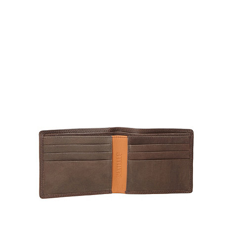 Mantaray - Brown leather check lined wallet