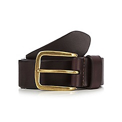 Hammond & Co. by Patrick Grant - Big and tall designer brown leather square buckle belt