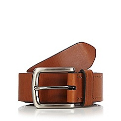 Hammond & Co. by Patrick Grant - Big and tall designer tan leather contrast edge belt