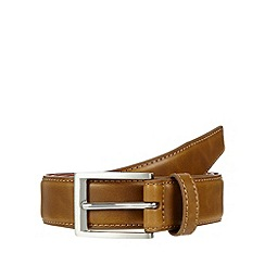 Red Herring - Tan bonded leather stitched belt