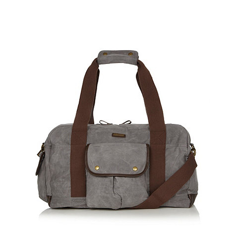 Weird Fish - Grey waxed canvas weekender bag