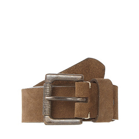 Mantaray - Brown suede buckle belt