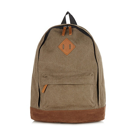 Red Herring - Natural canvas colour block backpack
