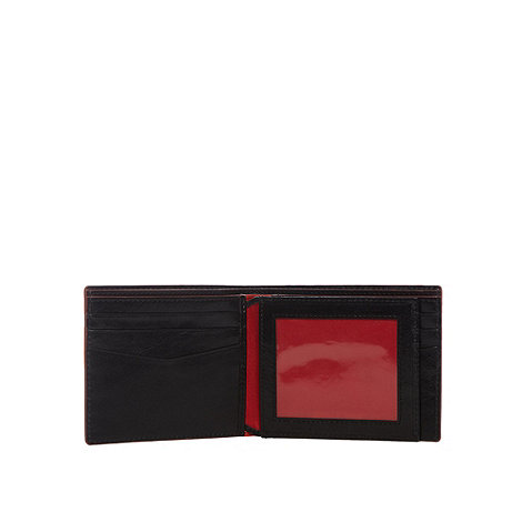Jeff Banks - Designer black  leather contrast trim wallet