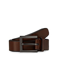 Jeff Banks - Big and tall designer tan leather perforated buckle belt