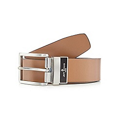 Jeff Banks - Big and tall designer tan leather reversible belt