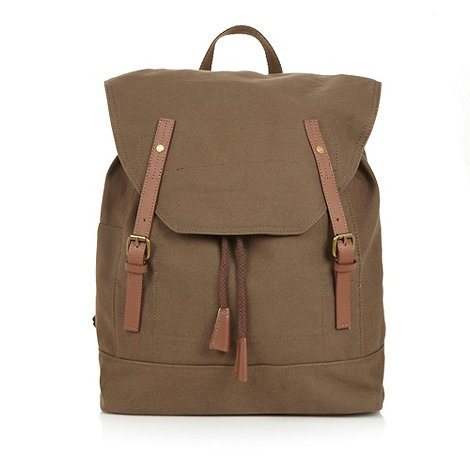 RJR.John Rocha - Designer khaki canvas leather trim backpack
