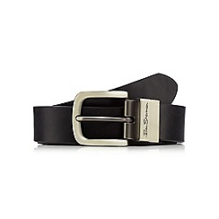 BEN SHERMAN - Black coated leather reversible belt