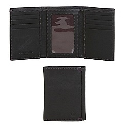 Jeff Banks - Designer black leather stitched trifold wallet