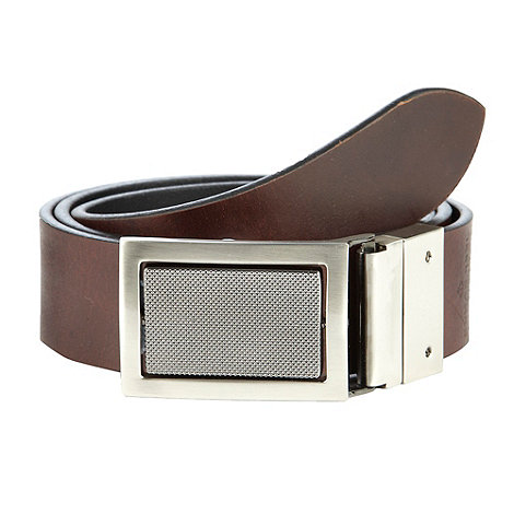 Jeff Banks - Designer brown leather plated leather belt