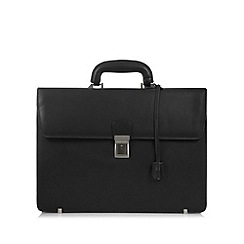 Osborne - Black leather single lock briefcase