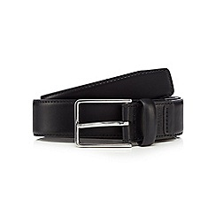 Jeff Banks - Big and tall designer black leather rectangle buckle belt